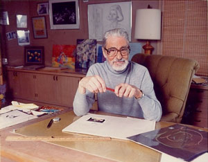 An older Theodor Seuss Geisel aka Dr Seuss at his desk