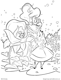alice meeting the talking flowers coloring page