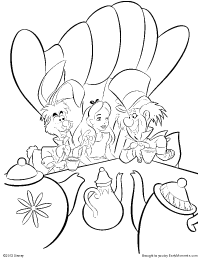 alice having tea with the mad hatter and the march hare coloring page - Alice Wonderland Coloring Page