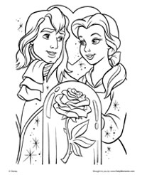 the enchanted rose coloring page