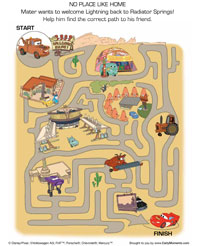 no place like home maze - Disney Cars Activities