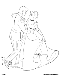 prince charming dancing with cinderella coloring page