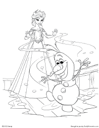 elsa keeps olaf from melting coloring page