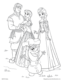 Kristoff Anna Elsa And Olaf Coloring Page