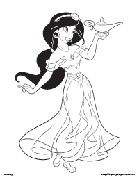 Free Printable Aladdin and Jasmine Coloring Pages  Earlymomentscom
