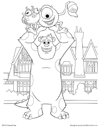 Mike and Sulley Celebrate Coloring Page