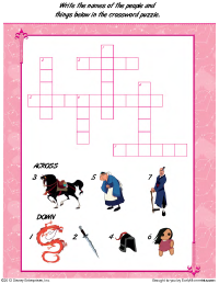 Worksheets Mulan Worksheet free printable mulan activities earlymoments com mushus coloring page crossword puzzle