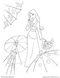 mulan and umbrellas coloring page
