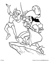 peter pan dueling with captain hook coloring page