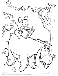 roo reads to eeyore coloring page