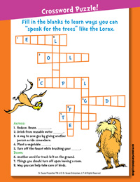 Printables Lorax Worksheets free printable lorax activity pages earlymoments com the crossword puzzle
