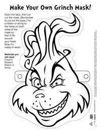 dr seuss activity page the grinch mask